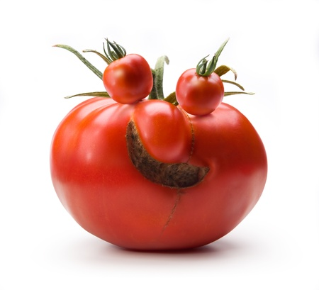 surreal: abstract Art cheerful Mr.Tomato isolated on white backgroud