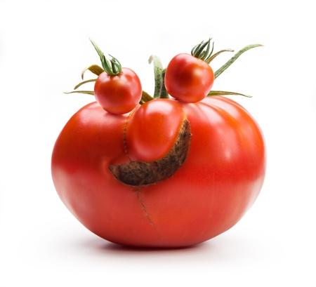 Mr.Tomato Art abstrait gai isolé sur blanc backgroud