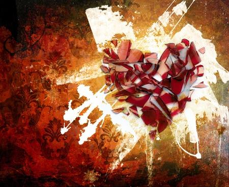 pared rota: arte grunge coraz�n roto