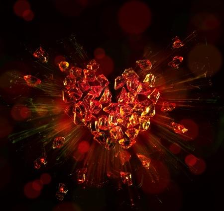 desilusion: coraz�n roto en pedazos Foto de archivo