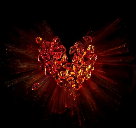 glass heart: heart broken into pieces