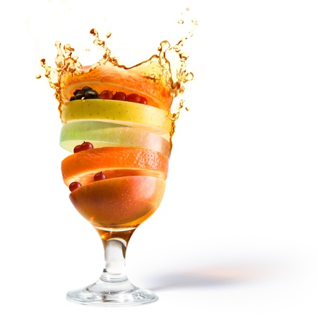 jus orange glazen: fruit cocktail, fruit sap vitamine