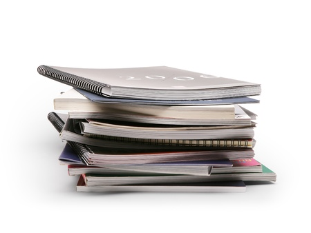 medium group of object: stack of brochures on a white background Stock Photo