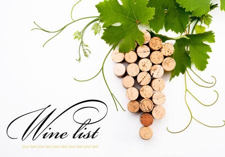 corcho: idea de dise�ar una lista de vinos Foto de archivo