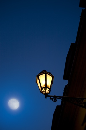 old moon: Romantic evening in Rome Stock Photo