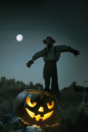 straw man standing in an autumn field, moonlit night in Halloween photo