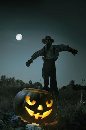 straw man standing in an autumn field, moonlit night in Halloween Stock Photo - 10700137