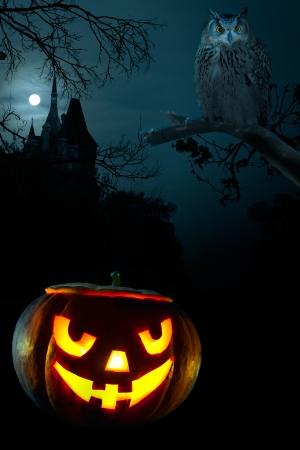 calabazas de halloween: Calabaza aterrador, Owl y el castillo de Halloween acerca