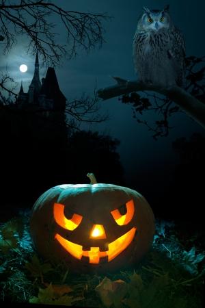 zucche halloween: Zucca spaventoso, Owl e il castello di Halloween vicina