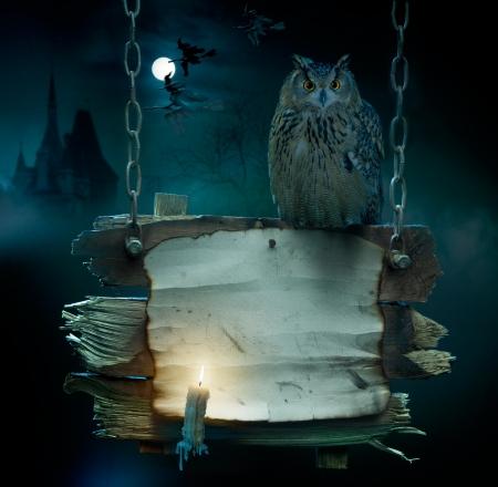 strega: progettazione di sfondo per una festa la notte di Halloween Archivio Fotografico