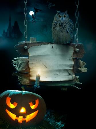 escoba: diseño de fondo para una fiesta en la noche de Halloween
