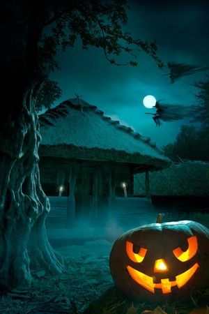 halloween party: design background for a party on Halloween night Stock Photo
