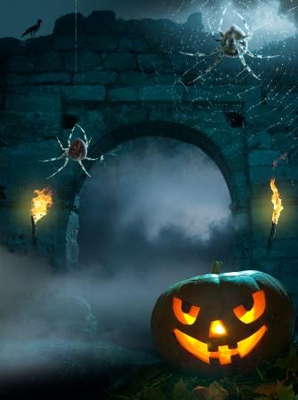calabazas de halloween: dise�o de fondo para una fiesta en la noche de Halloween
