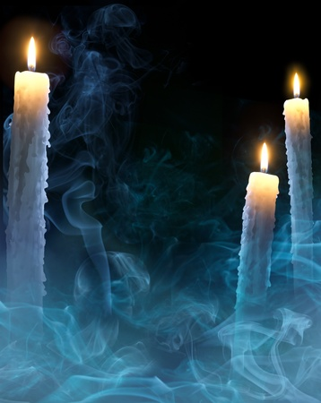 fantasy art: mystical background with candles for a party on Halloween Stock Photo