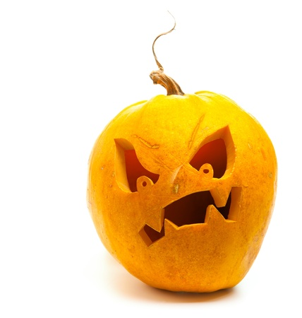 banner design for Halloween pumpkin isolated on white background Stock Photo - 10958847
