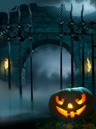 moon gate: design background for a party on the night of Halloween Stock Photo