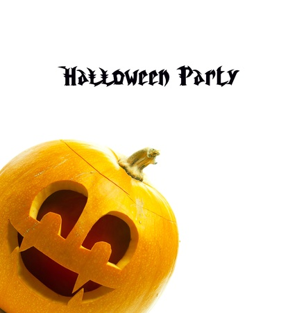 banner design for Halloween pumpkin isolated on white background photo
