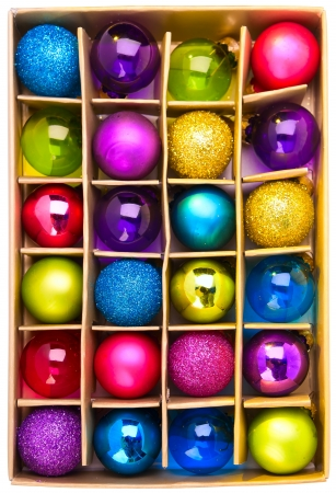blue ball: gift box with bright colored Christmas balls
