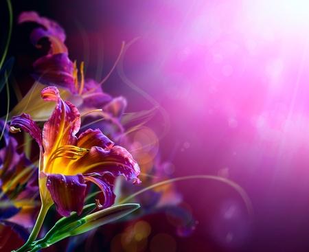 Art Floral frame op een rode achtergrond. Met exemplaar-ruimte Stockfoto