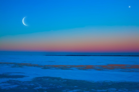 frozen ice lake winter moonlit night photo