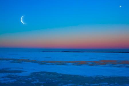 frozen ice lake winter moonlit night Stock Photo - 11216288