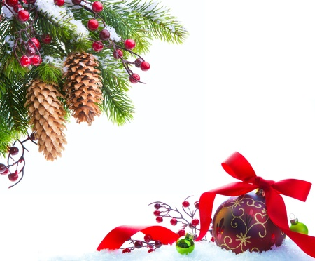 branche de l'arbre de Noël de neige abri isolé sur fond blanc