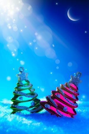 art Christmas tree toy on blue night background photo