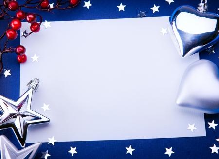 Art Christmas greeting on blue background