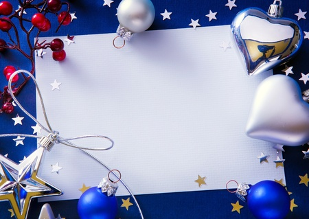 Art Christmas greeting on blue background photo