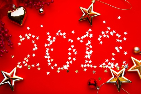 new year 2012 red background photo