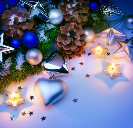 Christmas card with Christmas decorations blue background Stock Photo - 11557852