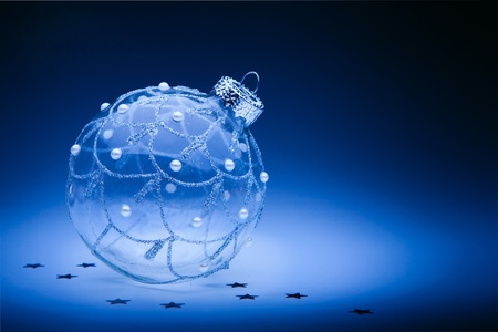 design christmas card with christmas ball on dark blue background Stock Photo - 11557009