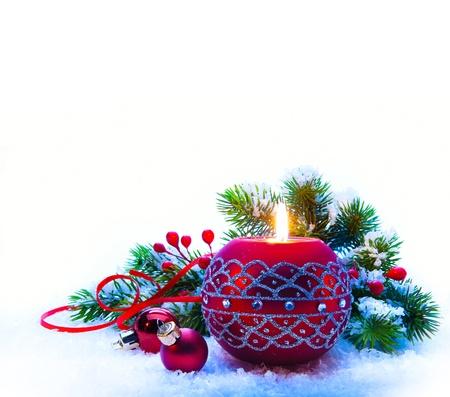 Christmas Decorations on white  background  photo