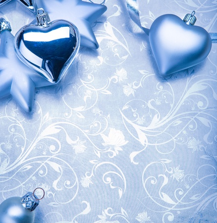 christmas decoration on blue vintage background photo