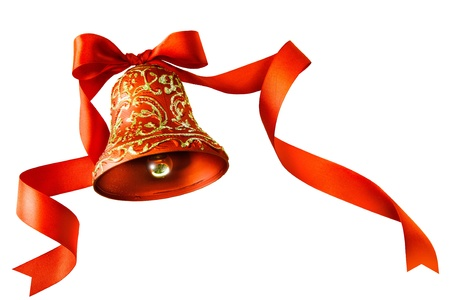 Christmas bells with red ribbon isolated on white background photo