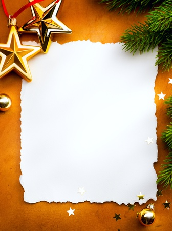 star border: Design a Christmas greeting card with white paper on a red background