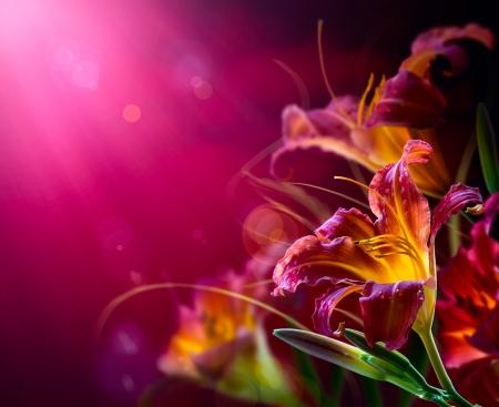 lily flowers: Arte Lily Flores sobre un fondo rojo. San Valent�n dise�o de d�a Foto de archivo