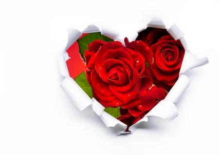 aniversario de bodas: Arte ramo de rosas rojas y los corazones de papel de San Valentín Foto de archivo