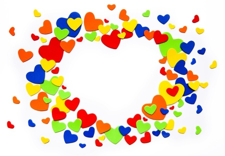 heart suite: Art colorful love hearts on a white background