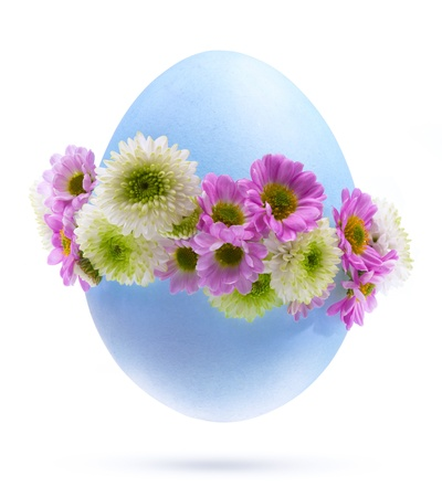 Easter eggs decorated by flowers Isolated on white background photo