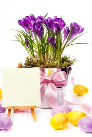 Happy Easter  Colorful painted easter eggs and spring flowers photo