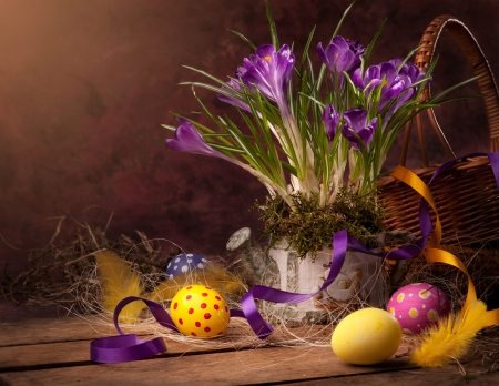 easter decorations: vintage Easter card, spring flowers on a wooden background Stock Photo