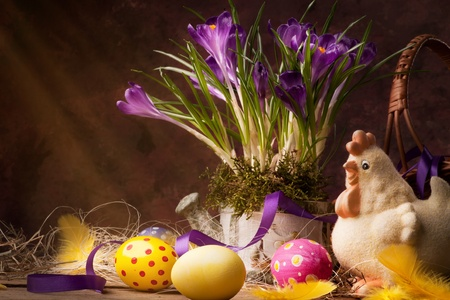 vintage Easter card, spring flowers on a wooden background Stock Photo - 12782454