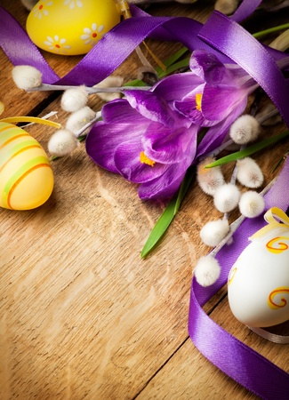 pussy yellow: Easter background with crocuses and Easter eggs