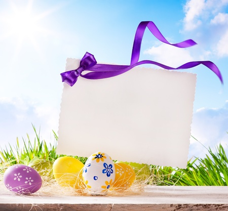 Easter greeting card with  Easter eggs  photo