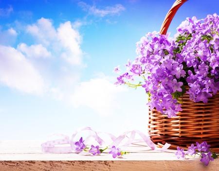 dia soleado: bluebells flores de la primavera en una cesta Foto de archivo