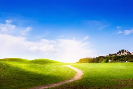 primavera del paesaggio con erba verde, su strada e le nuvole Archivio Fotografico