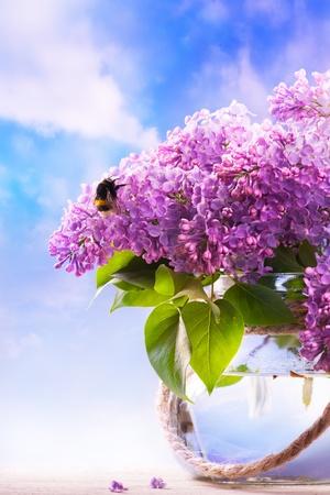 Lentebloemen in een vaas op hemelachtergrond Stockfoto
