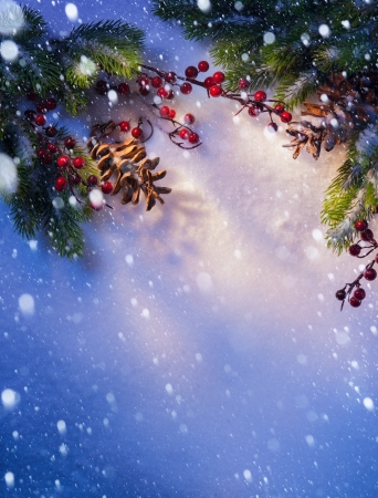 Blue snow, Christmas background, frame of fir branches