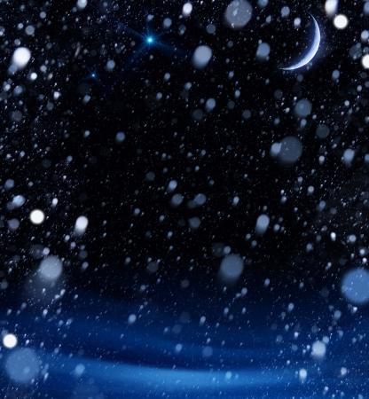 snow christmas magic lights background Stock Photo - 15975409